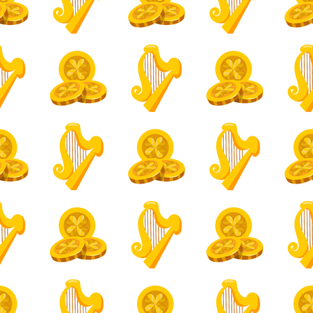 Seamless pattern with golden harp and three gold coins.