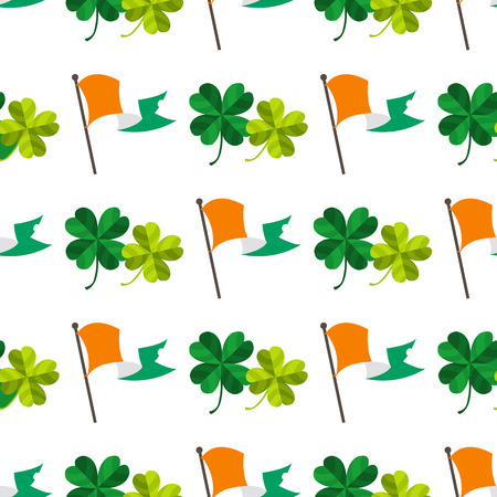 Seamless pattern with an Irish flag and four leaf clover. Illustration