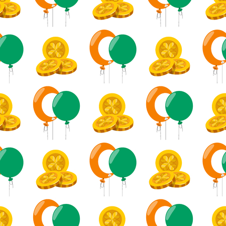 Seamless pattern with a balloons and three gold coins.