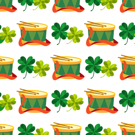 Seamless pattern with a drum and four leaf clover.