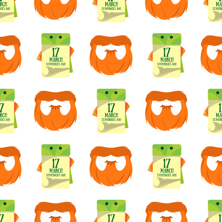 Seamless pattern with a calendar on 17 March and a red beard.