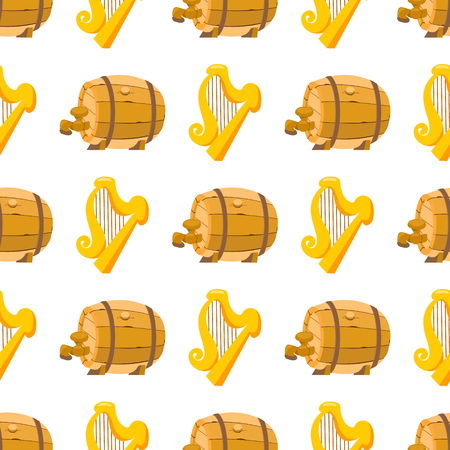 Seamless pattern with golden harp and a wooden beer barrel. Illustration
