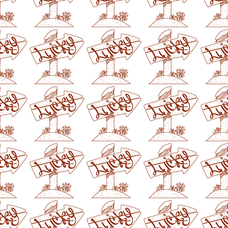 Seamless pattern with a wooden pointer with inscription luck.