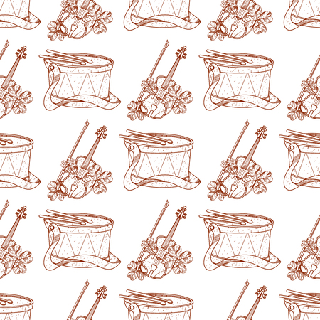 Seamless pattern with drum and violin.