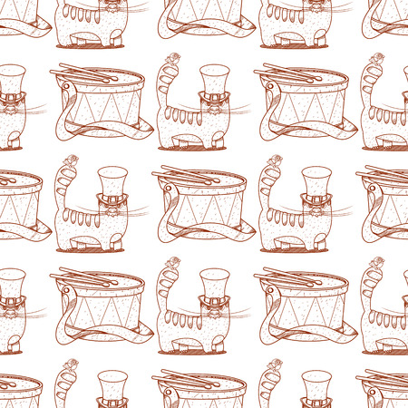 Seamless pattern with a drum and a cat in the hat long.