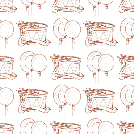 Seamless pattern with drum and balloons.