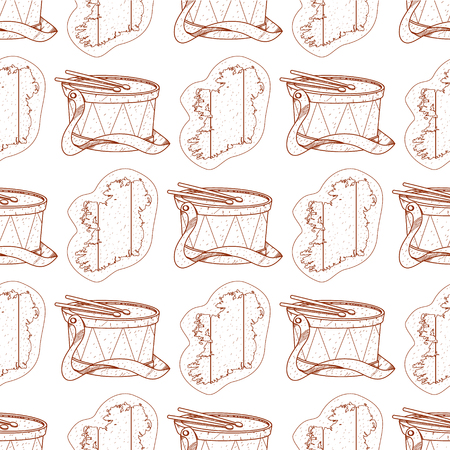 Seamless pattern with a drum and a contour map of Ireland.