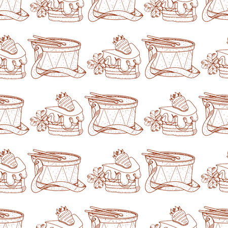 Seamless pattern with a drum and a piece of cake in the cream and strawberries. Illustration