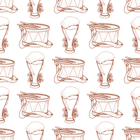Seamless pattern with drum and frothy beer in a glass goblet.