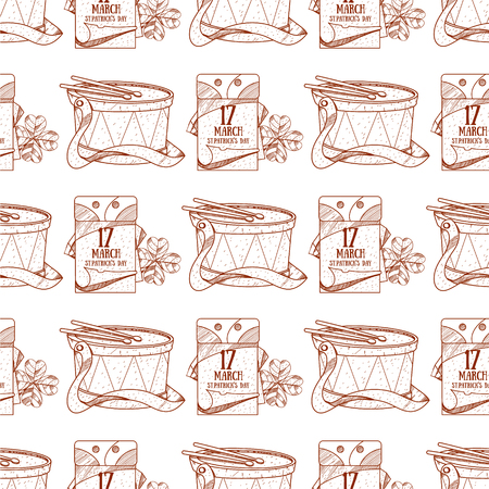 Seamless pattern with a drum and a tear-off calendar, on March 17 day.