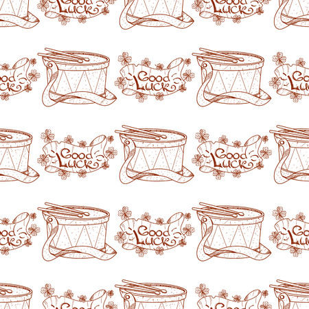 Seamless pattern with drum and banner of good luck. Illustration
