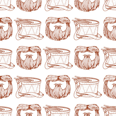 Seamless pattern with a drum and a camouflage beard. Illustration
