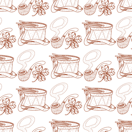 Seamless pattern with a drum and pipes.