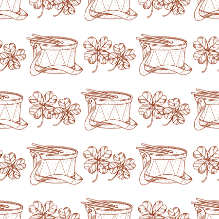 Seamless pattern with clover and drum.