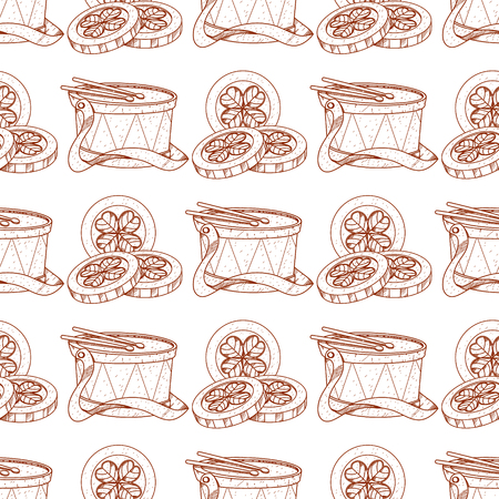 Seamless pattern with gold coins and drum.
