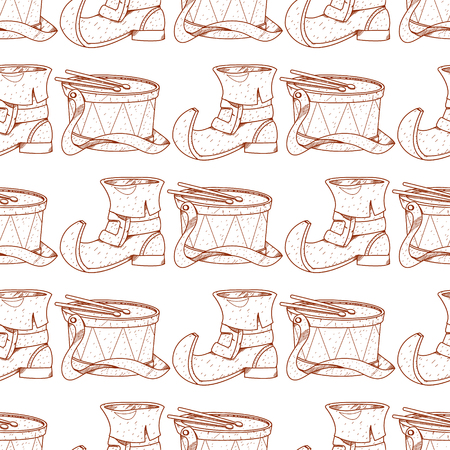 Seamless pattern with the drum and shoe leprechaun