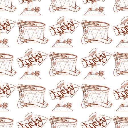 Seamless pattern with a drum and a wooden pointer.