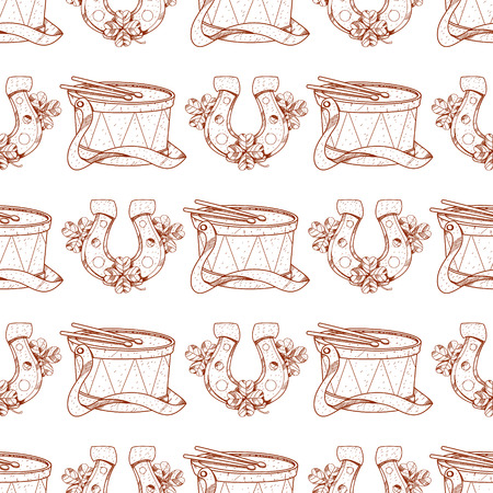 Seamless pattern with a drum and a horseshoe.