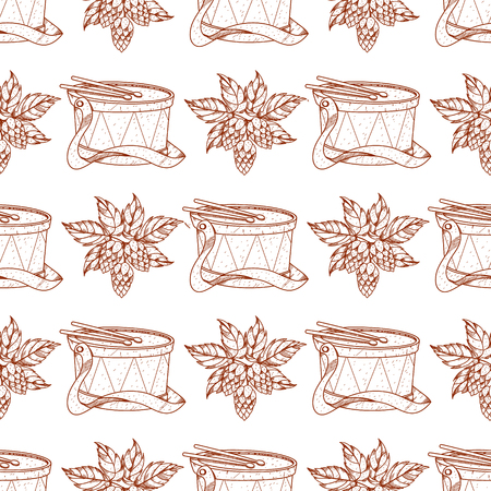 Seamless pattern with a drum and a sprig of hops.