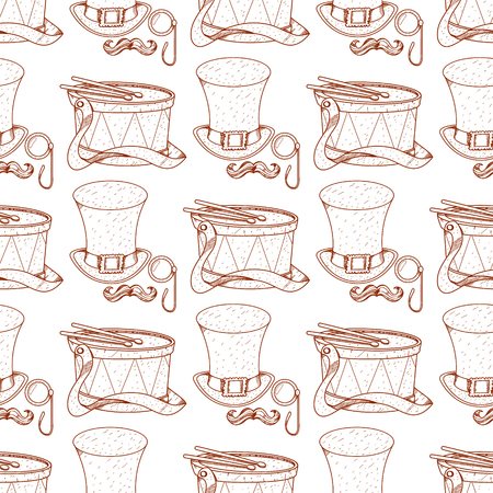 Seamless pattern with drum and high hat, monocle and mustache. Illustration