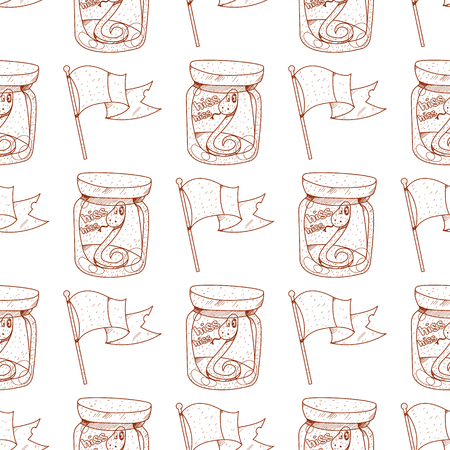 Seamless pattern with a flag and a green snake in a glass jar.