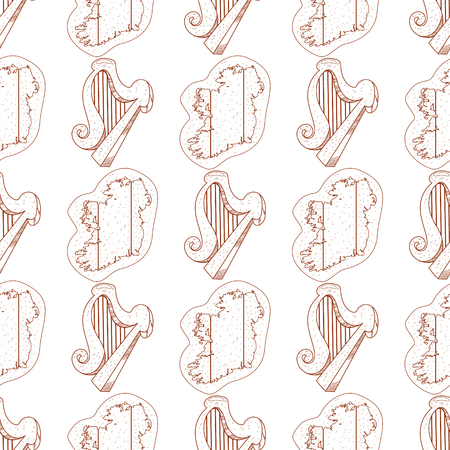Seamless pattern with a harp and a contour map of Ireland.