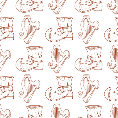 Seamless pattern with a harp and a leprechaun shoes.