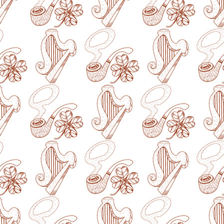 Seamless pattern with harp and pipes on white background.