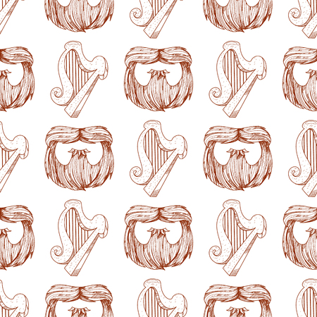 Seamless pattern with a harp and a beard. Illustration