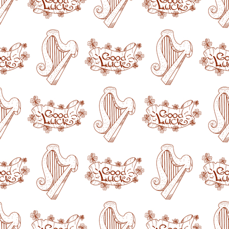 Seamless pattern with a harp and a banner of good luck.