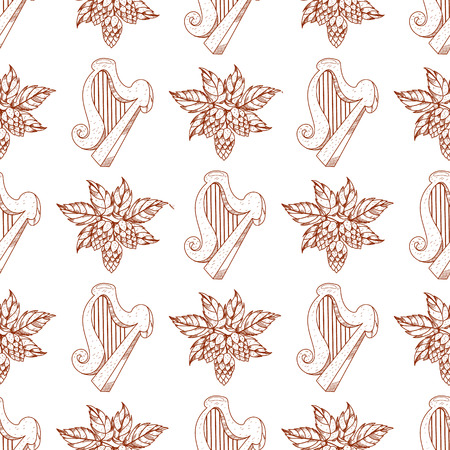 Seamless pattern with harp and hops branch.