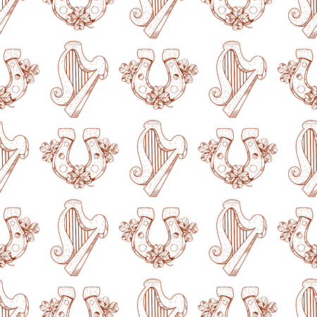 Seamless pattern with harp and horseshoe on white background. Illustration