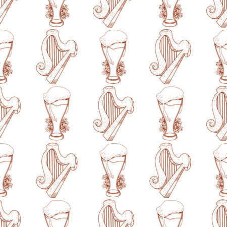 Seamless pattern with a harp and a glass of foamy beer.