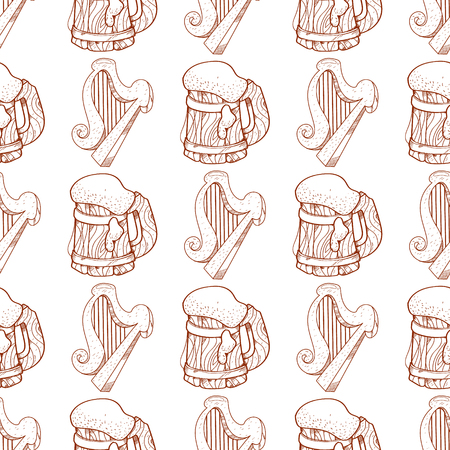 Seamless pattern with a harp and a mug of foamy beer. Illustration