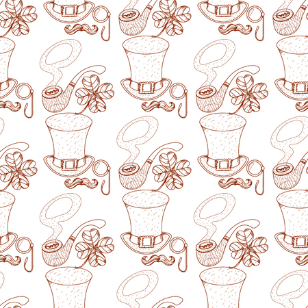 Seamless pattern with a pipe and a high hat, monocle, mustache.