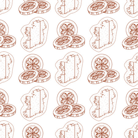 Seamless pattern with contour map of Ireland and coins with clover.