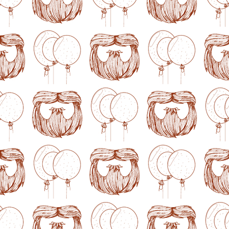 Seamless pattern with balloons and a beard.  イラスト・ベクター素材