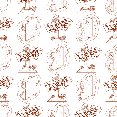 Seamless pattern with outline map of Ireland and wooden arrow pointer.