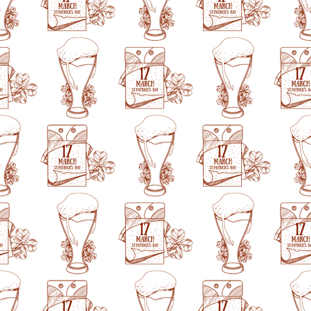 Seamless pattern with a glass of foamy beer and a tear off calendar, on March 17 day.