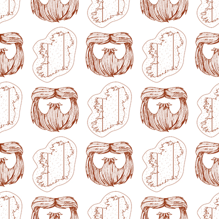 Seamless pattern with a beard and a contour map of Ireland.