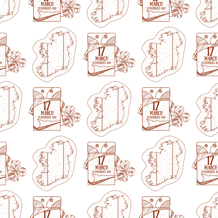 Seamless pattern with outline map of Ireland and a tear off calendar, on March 17 day.