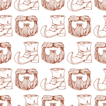 Seamless pattern with a mask beard and mustache. Çizim