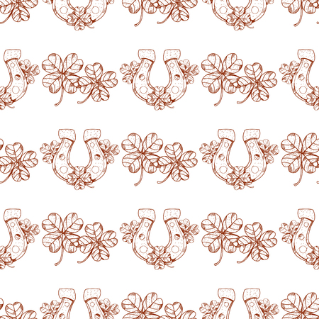 Seamless pattern with clover and horseshoe on white background.