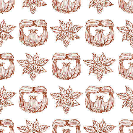 Seamless pattern with a mask beard and mustache. Ilustracja
