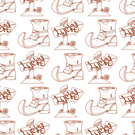 Seamless pattern with shoes leprechaun on white background.