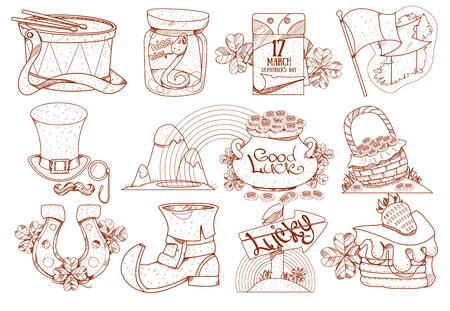 A set of drawings on the theme of beer. Brewing, Irish Pub St. Patricks Day. Outline drawing, coloring. Illustration