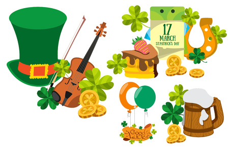 A set of drawings on the theme of beer. Brewing, Irish Pub St. Patricks Day.