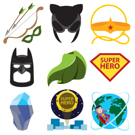 Superheroes set. Elements of costumes, superheroes items. Stock Vector - 106824826