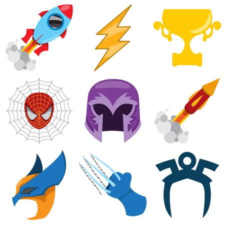 Superheroes set. Elements of costumes, superheroes items. Illustration