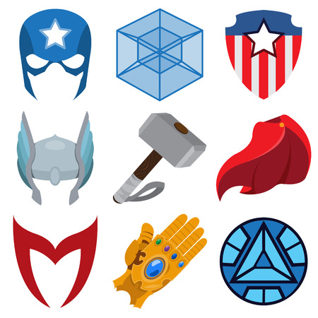 Superheroes set. Elements of costumes, superheroes items Stock Vector - 106825275
